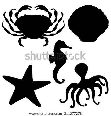 Sea animals black silhouettes set, crab, starfish, shell, octopus, sea horse closeup isolated on white background  - stock vector