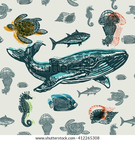 Sea animals colorful seamless vector pattern. Realistic engraved style of Sea animals on old paper. - stock vector