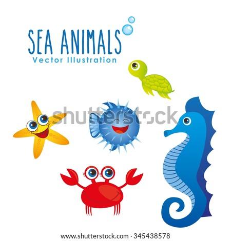 sea animals design, vector illustration eps10 graphic  - stock vector