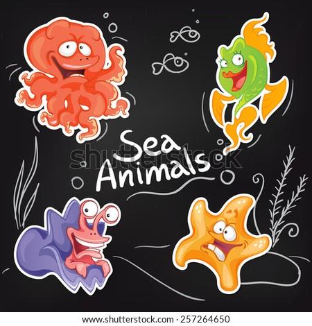 Sea animals in cartoon style. Cool sticker design on blackboard.  - stock vector