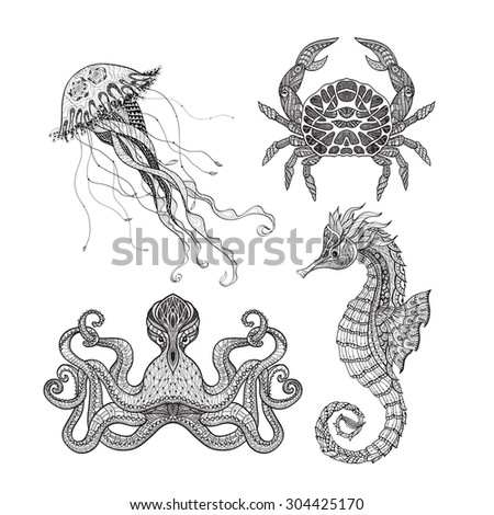 Sea animals seahorse octopus jellyfish and crab doodle icons set  black line design abstract vector isolated illustration - stock vector