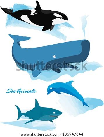 Sea Animals Series - Whale, Shark, Dolphin, Orca - stock vector