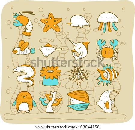 Sea animals set | Mocha Series - stock vector