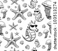 Sea animals sketch background. Seamless vector pattern - stock vector