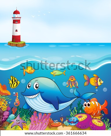 Sea animals swimming under the ocean illustration - stock vector