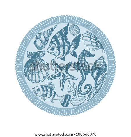 Sea animals vector circle, pencil drawings - stock vector