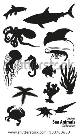 Sea animals vector silhouettes collection
