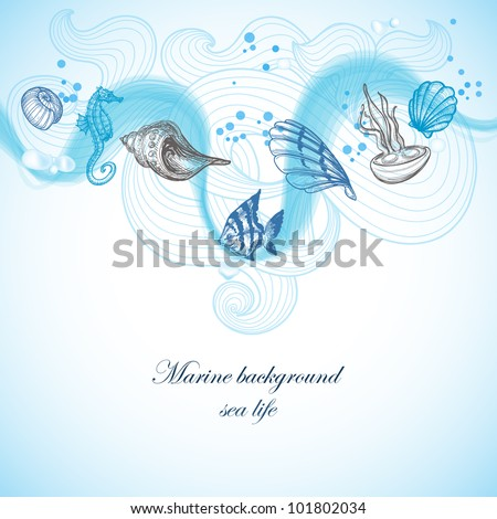 Sea background, marine fauna hand drawn elements - stock vector