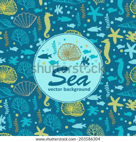 Sea background. Vector illustration. Can be used form of greeting cards, invitations and personalized card. - stock vector