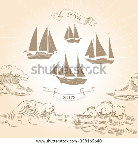 Sea background with waves.Hand drawn elements for summer holidays with ships.Travel, marin, ocean and beach. Vector Illustration - stock vector