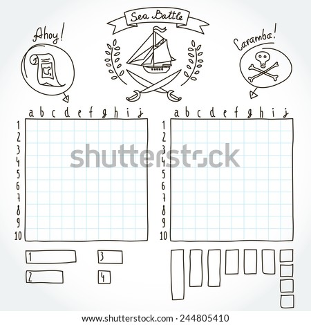 Sea Battle Board Game Form Game Vector 244805410 Shutterstock – Battleship Game Template