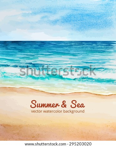 sea beach watercolor vector - stock vector