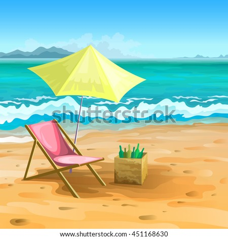 Sea beach with mountains on the horizon, yellow umbrella and sand - stock vector