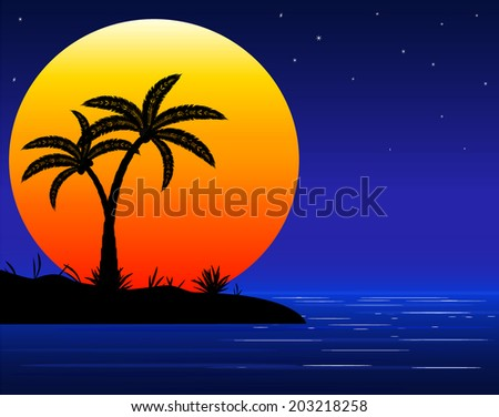 sea beach with palm trees in night - stock vector