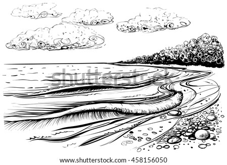 Sea Beach With Stormy Waves Black And White Vector Illustration Of Shore Sketchy