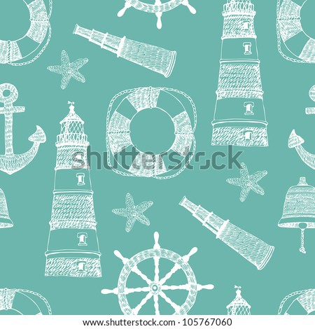 Sea blue seamless background - stock vector