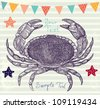 Sea blue striped illustration with crab - stock photo