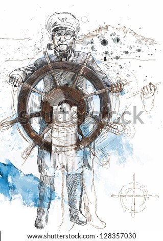 Sea Captain - A hand drawn illustration converted into vector. /// Vector is editable in 5 layers. - stock vector