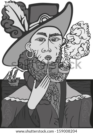 sea captain, a man in a wide-brimmed hat in medieval attire, smoking a pipe at the sea.