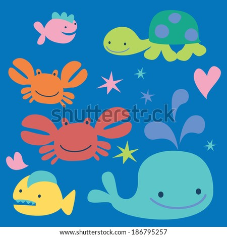 Sea cartoon characters