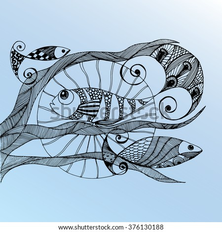 Sea creatures. Line art. Mascara. Black and white. Dudling. Zentangl. Stylized fish. Decorative. Background. Shell. Squid. Jellyfish. Carp. Sink. Snail. Octopus. Sea bottom. Of algae. Whale. Flounder. - stock vector