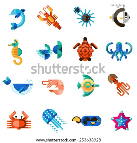 Sea creatures underwater animal life set with dolphin seahorse fish crab isolated vector illustration - stock vector