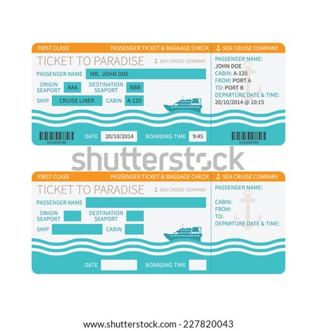 Sea Cruise Ship Boarding Pass Ticket Stock Vector - How much is a cruise ship ticket