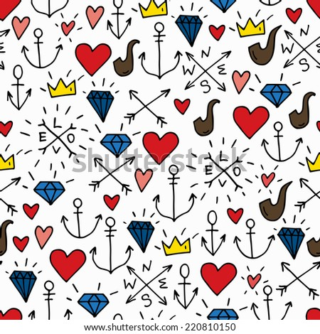 Sea doodle hipster background, colorful seamless isolated hand drawn pattern with diamonds, pipes, red hearts,  crowns and anchors - stock vector