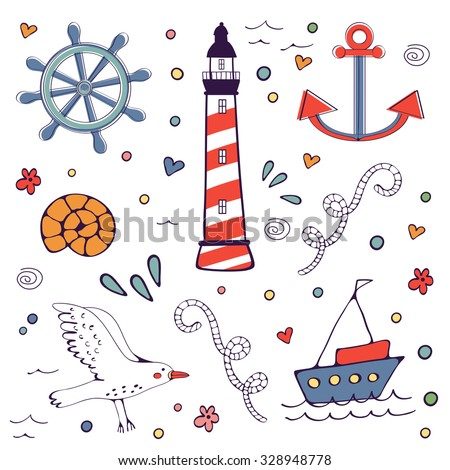 Sea doodles. Cute sea related hand drawn graphic elements in vector format