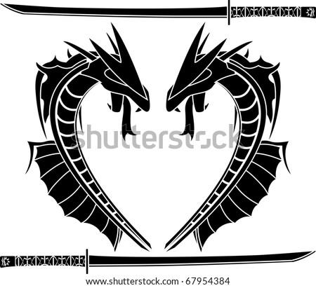 sea dragons. stencil. vector illustration - stock vector