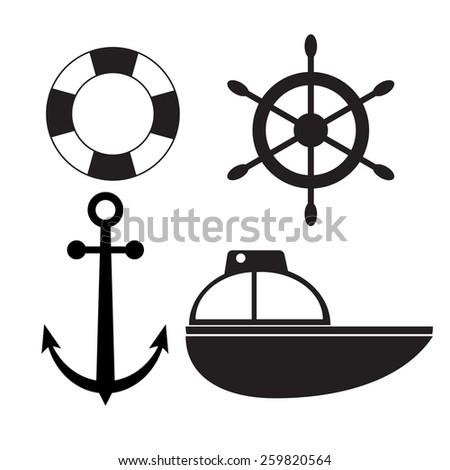 sea element set. - stock vector