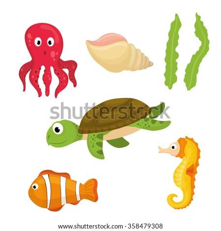 Sea fauna cartoon - stock vector