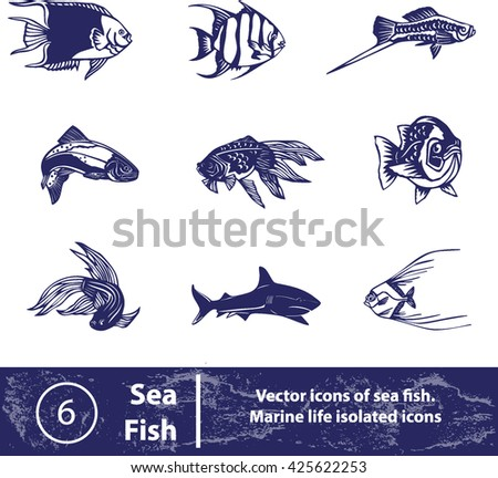 Sea fish set. Vector fish icons
