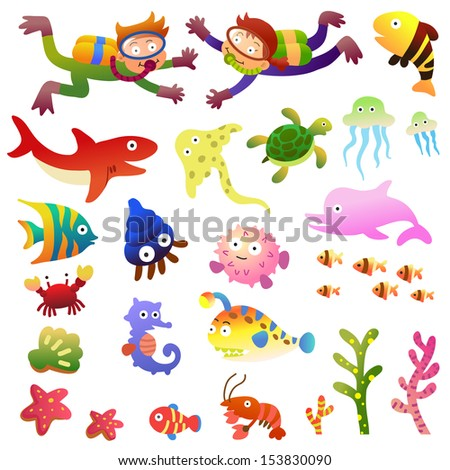 Sea fishes and animals collection.EPS10 File  simple Gradients