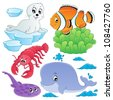 Sea fishes and animals collection 5 - vector illustration. - stock vector