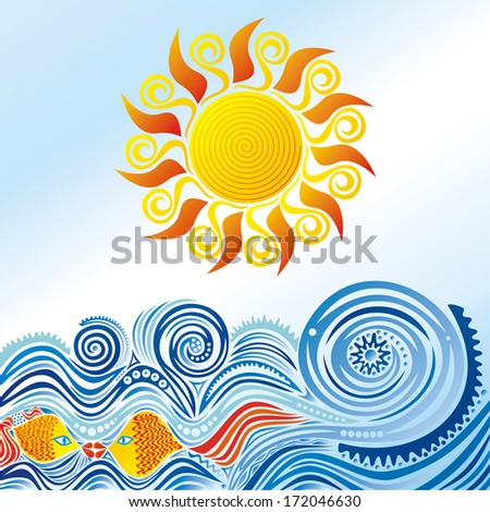Sea fishes sun nature pattern background vector illustration - stock vector