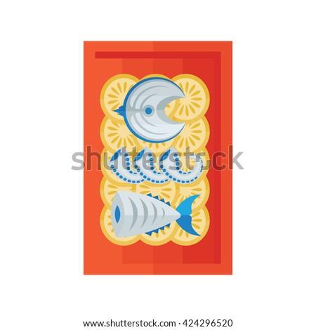 sea food and salad - stock vector