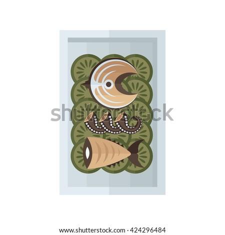sea food and salad brown color - stock vector