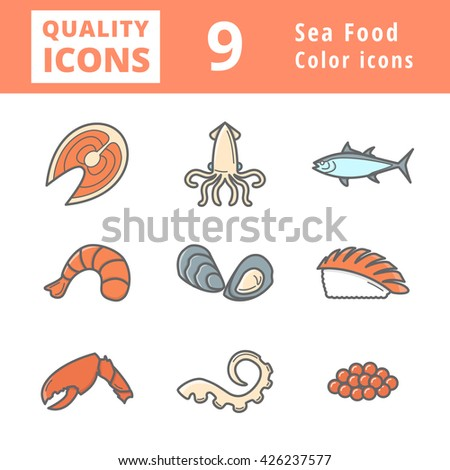 Sea Food Icon Set Line sign vector illustration emblem logo art set isolated icon logo element object clip art flat most viewed