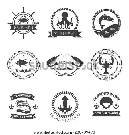 Sea food label set fresh fish premium quality restaurant stamps isolated vector illustration - stock vector