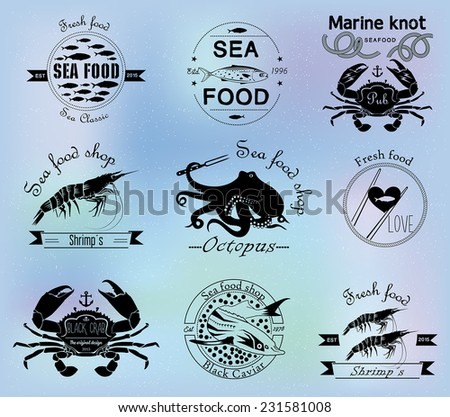 Sea food labels, badges and design elements - stock vector