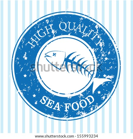 sea food over blue background vector illustration  - stock vector