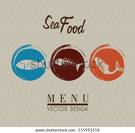 sea food over gray background vector illustration  - stock vector