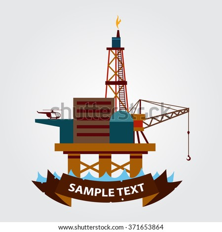 Sea gas platform icon. Drilling rig at sea. Oil platform, gas fuel, industry offshore, drill technology. - stock vector