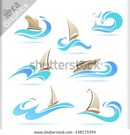 Sea Graphics Series -   Ship Sailing Icon Set - stock vector