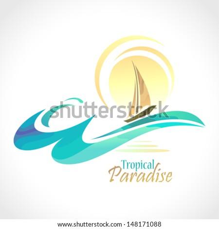 Sea Graphics Series - Sun and Sailing Ship - stock vector