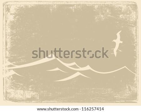 sea gull silhouette on grunge background, vector illustration - stock vector