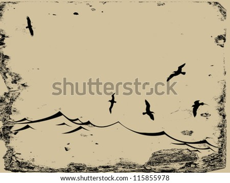 sea gulls silhouette on grunge background, vector illustration - stock vector