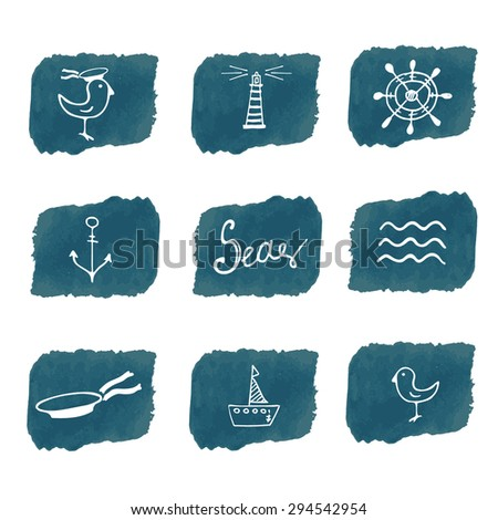 Sea hand drawn icons on blue watercolor background  - stock vector