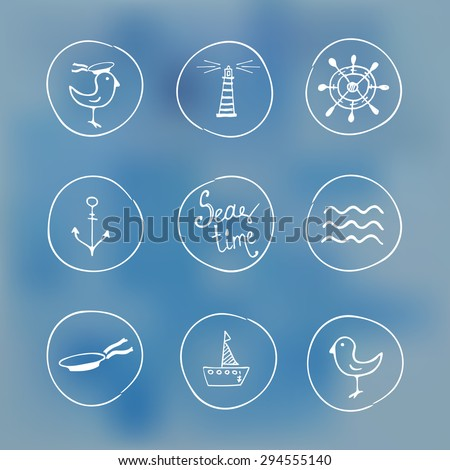 Sea hand drawn icons on watercolor background - stock vector